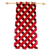 Deal Wala 1 Piece Of Box Design Red Eyelet Door Curtain - Vip213