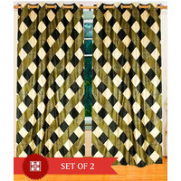 Deal Wala Pack Of 2 Box Design Green Eyelet Door Curtain - Vip214