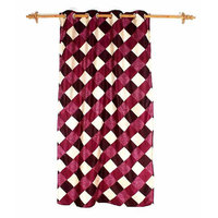 Deal Wala 1 Piece Of Box Design Maroon Eyelet Door Curtain - Vip216
