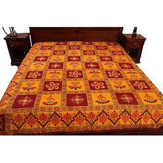 Kantha Work Bed Sheet-Red & Yellow