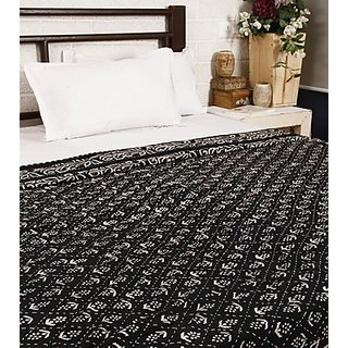 Sanganeri Print with Kantha work Black Bed Spread