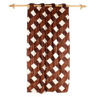 Deal Wala 1 Piece Of Box Design Brown Eyelet Door Curtain - Vip218