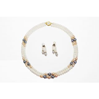 Fresh Water Pearl Necklace -Traditonal Necklace Set With Peach And Golden Color