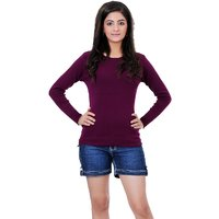 Renka Knitted Winter Pullover top - Purple Color - Women causal Wear