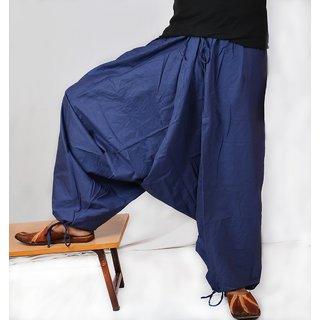 Indian Men's Blue Color Cotton Harem Pants Trouser Bottoms