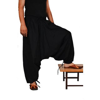 Indian Men's Black Color Cotton Harem Pants Trouser Bottoms