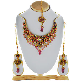 Asian Pearls & Jewels Pink Necklace Set