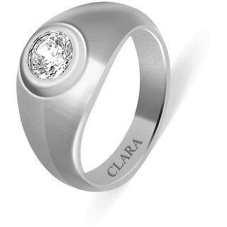 Clara Sterling Silver Swarovski The Solid Men Ring