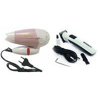 Nova Folding Hair Dryer (850W) & Nova Rechargeable Hair Trimmer Combo - 4476340