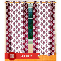Deal Wala Pack Of 2 Mask With Border Design Maroon Eyelet Door Curtain - Vip238