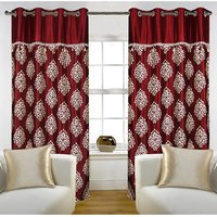 Deal Wala Pack Of 2  Mask With Lace Design Maroon Eyelet Door Curtain - Vip264