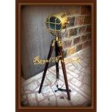 Antique Designer's Corner Floor Lamp With Antque Tripod Stand Antique SpotLight