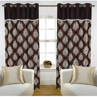 Deal Wala Pack Of 2 Mask With Lace Design Brown Eyelet Door Curtain - Vip266