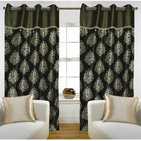 Deal Wala Pack Of 2 Dark Green Mask With Lace Design Eyelet Door Curtain -vip268