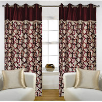 Deal Wala Pack Of 2 Geometric Design Maroon Eyelet Door Curtain - Vip272