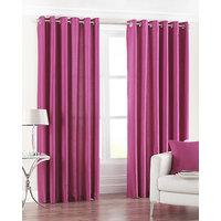 Deal Wala Pack Of 2 Dark Pink Eyelet Door Curtain - Vip276
