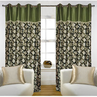 Deal Wala Pack Of 2 Geometric Design Green Eyelet Door Curtain - Vip275