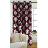 Deal Wala 1 Piece Of Mask Design Maroon Eyelet Door Curtain - Vip279