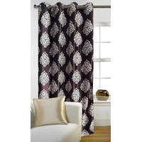 Deal Wala 1 Piece Of Mask Design Brown Eyelet Door Curtain - Vip284