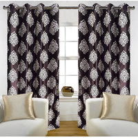 Deal Wala Pack Of 2 Mask Design Brown Door Curtain - Vip285