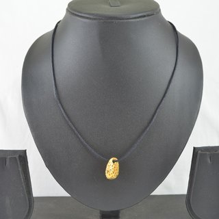 Black Leatherette Necklace With Gold Tiny Pouch (AFNKGTP)
