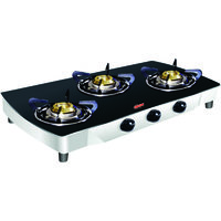 Hotstar 3 Burner Glass Top Black Manual Crv/St Glass Cook Top