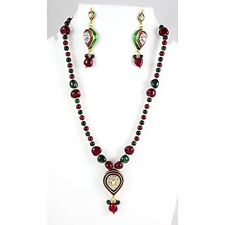 Ethnic Gold Plated Leaf Shape Pendant In Red & Green Beads Necklace Set KJNS153