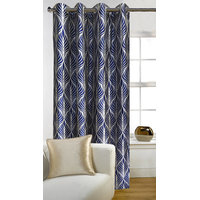 Deal Wala 1 Piece Of Trap Design Blue Eyelet Door Curtain - Vip297