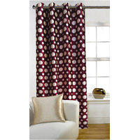 Deal Wala 1 Piece Of Dots Design Maroon Eyelet Door Curtain - Vip304