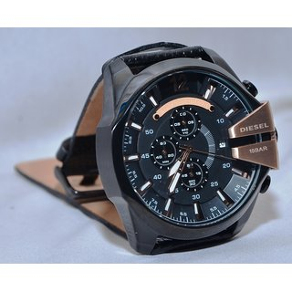 Diesel MEGA CHIEF Black - Leather Strap