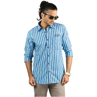 Crosscreek Blue And Navy Striped Shirt (Size-M)