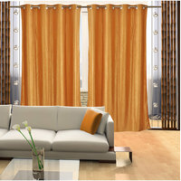 Deal Wala Pack Of 2 Golden Color Eyelet Door Curtain -vip311
