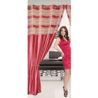 Deal Wala 1 Piece Of Double Tissue Dark Pink Eyelet Door Curtain - Vip329