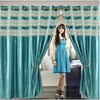 Deal Wala Pack Of 2 Aqua Blue Eyelet Door Curtain -vip334