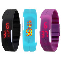Combo of LED Watches-Black, Sky Blue And Purple Color by N