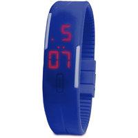 Jelly Slim Men Women Unisex Blue LED Digital Casual Bracelet Band Led Watch by missAA