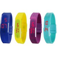 NEW Led Magnet Band Combo of 4 Blue, Yellow, Purple And Sky Blue Digital Watch - For Men  Women by missABC