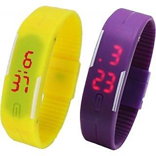 Led yellow purple digital watch for women girls boy by missaa