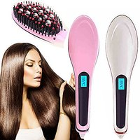 Professional 3 in 1 Straightening, Detangling  Styling Brush with LCD - AntiStatic AntiScald (Assorted Color)