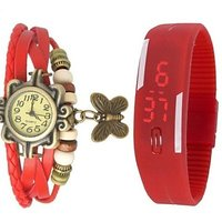 Red Leather And Led Combo Watch With Special Discount n