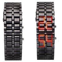 Red Led Bracelet Black Steel Belt Watch For Mens by op