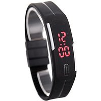Fashion Sport Black LED Watches Adjustable Silicone Strap Digital Watches, Waterj