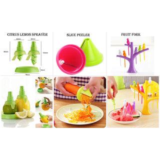 Combo of Slice Peeler  3Pc Citrus Lemon Sprayer And Set of 6 Fruit Fork