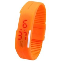 Orange Silicon Led Digital Watch For Girls and Boys and Kids by jh