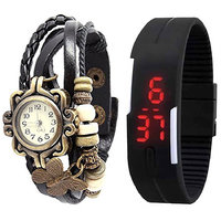 Combo of Black Vintage Watch And Black Led Watch by go