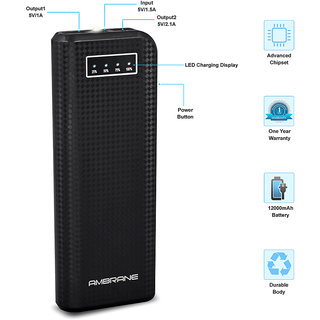 Ambrane P-1200 12000mAh Power Bank - Black