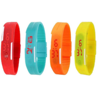 NEW Led Magnet Band Combo of 4 Red, Sky Blue, Orange And Yellow Digital Watch - For Men  Women by i