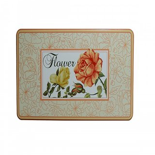 6th Dimensions New Metal Jars Large Flower Tin Storage Box Jewelry Vintage Icon Rectangular Gift Case
