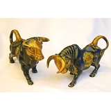 MC Brass Metal Angry Bull Set Of 2