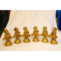MC Brass Metal MC Brass Lord Ganesha (Set Of 6)